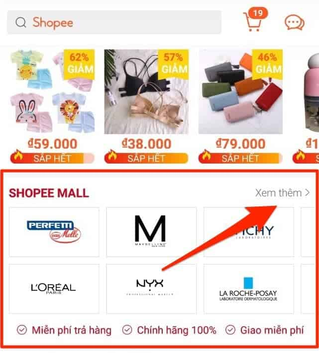 Shopee Mall trên Mobile